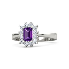 Emerald-Cut Amethyst Palladium Ring with Diamond