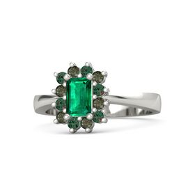 Emerald Emerald Palladium Ring with Alexandrite and Green Tourmaline