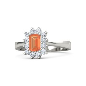 Emerald-Cut Fire Opal Palladium Ring with Diamond