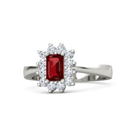 Emerald-Cut Ruby Palladium Ring with Diamond