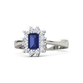Emerald-Cut Sapphire Palladium Ring with Diamond