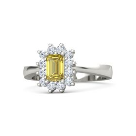 Emerald Yellow Sapphire Palladium Ring with Diamond