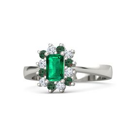 Emerald Emerald Platinum Ring with Alexandrite and Diamond