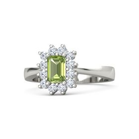 Emerald Peridot Platinum Ring with Diamond