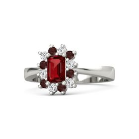 Emerald Ruby Platinum Ring with White Sapphire and Red Garnet