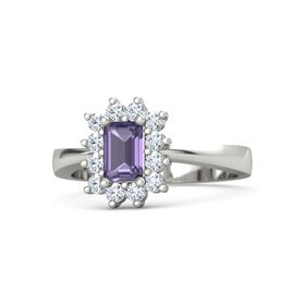 Emerald-Cut Iolite Platinum Ring with Diamond