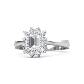 Emerald-Cut Rock Crystal Sterling Silver Ring with Diamond