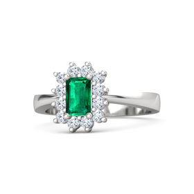 Emerald-Cut Emerald Sterling Silver Ring with Diamond