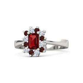 Emerald Ruby Sterling Silver Ring with Red Garnet and Diamond