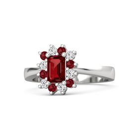 Emerald Ruby Sterling Silver Ring with Ruby and White Sapphire