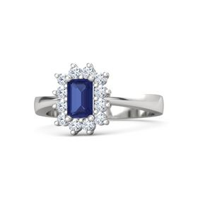 Emerald-Cut Sapphire Sterling Silver Ring with Diamond