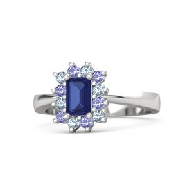 Emerald Blue Sapphire Sterling Silver Ring with Blue Topaz and Iolite