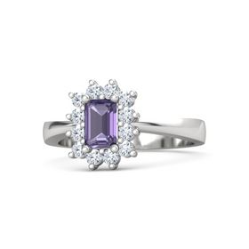Emerald-Cut Iolite Sterling Silver Ring with Diamond