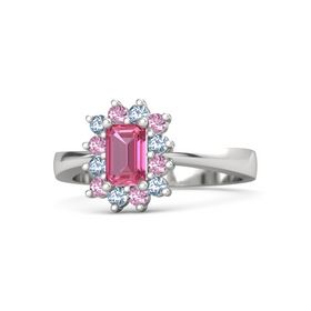 Emerald-Cut Pink Tourmaline Sterling Silver Ring with Blue Topaz & Pink Sapphire