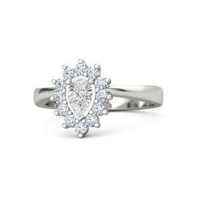 Pear White Sapphire Platinum Ring with Diamond