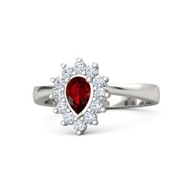 Pear Ruby Platinum Ring with Diamond