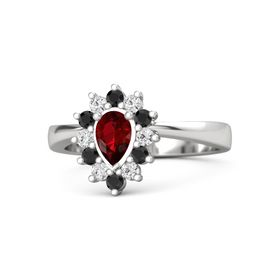 Pear Ruby Sterling Silver Ring with Black Diamond & White Sapphire