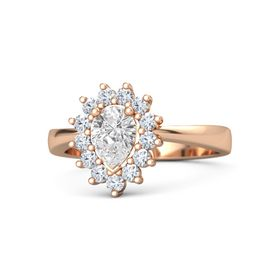 Pear White Sapphire 14K Rose Gold Ring with Diamond