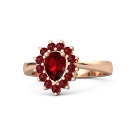 Pear Ruby 14K Rose Gold Ring with Ruby