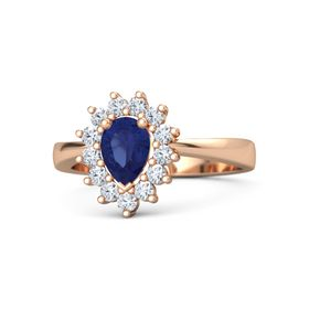 Pear Sapphire 14K Rose Gold Ring with Diamond