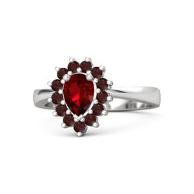 Pear Ruby Sterling Silver Ring with Red Garnet