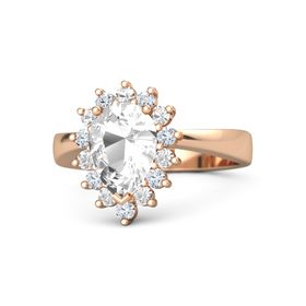 Pear Rock Crystal 14K Rose Gold Ring with Rock Crystal & Diamond