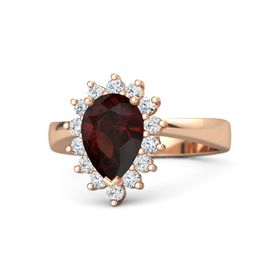 Pear Red Garnet 14K Rose Gold Ring with Diamond & White Sapphire