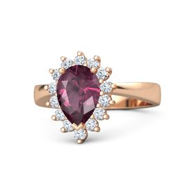 Pear Rhodolite Garnet 14K Rose Gold Ring with Diamond