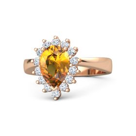 Pear Citrine 14K Rose Gold Ring with Diamond