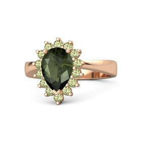 Pear Green Tourmaline 14K Rose Gold Ring with Peridot