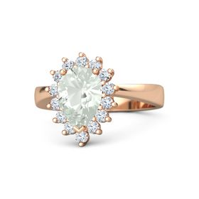 Pear Green Amethyst 14K Rose Gold Ring with Diamond