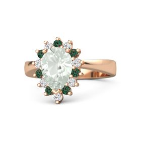 Pear Green Amethyst 14K Rose Gold Ring with Alexandrite & White Sapphire