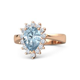 Pear Aquamarine 14K Rose Gold Ring with Diamond