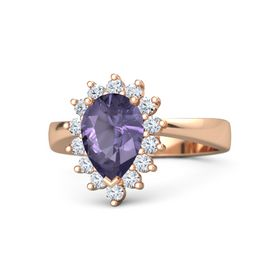 Pear Iolite 14K Rose Gold Ring with Diamond