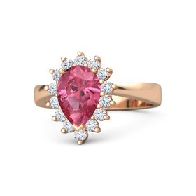 Pear Pink Tourmaline 14K Rose Gold Ring with Diamond
