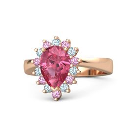 Pear Pink Tourmaline 14K Rose Gold Ring with Aquamarine and Pink Tourmaline