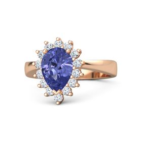 Pear Tanzanite 14K Rose Gold Ring with Diamond