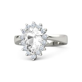 Pear Rock Crystal 14K White Gold Ring with Diamond