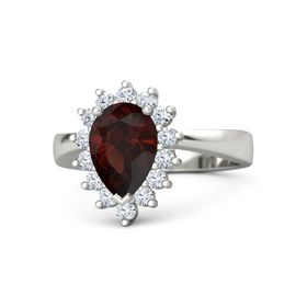 Pear Red Garnet 14K White Gold Ring with Diamond