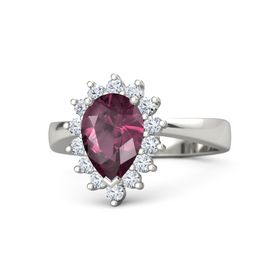 Pear Rhodolite Garnet 14K White Gold Ring with Diamond