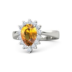 Pear Citrine 14K White Gold Ring with Diamond