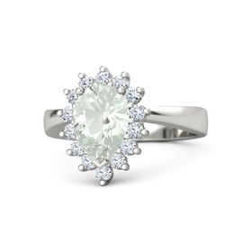 Pear Green Amethyst 14K White Gold Ring with Diamond