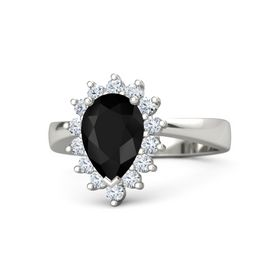 Pear Black Onyx 14K White Gold Ring with Diamond