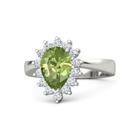 Pear Peridot 14K White Gold Ring with Diamond