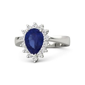 Pear Blue Sapphire 14K White Gold Ring with White Sapphire
