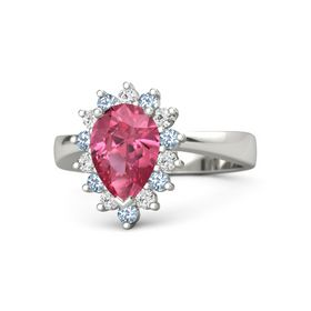 Pear Pink Tourmaline 14K White Gold Ring with White Sapphire & Blue Topaz