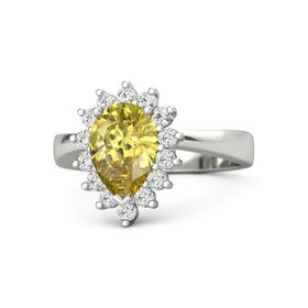 Pear Yellow Sapphire 14K White Gold Ring with White Sapphire