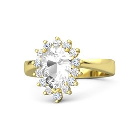 Pear Rock Crystal 14K Yellow Gold Ring with Rock Crystal and Diamond
