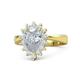 Pear Diamond 14K Yellow Gold Ring with Diamond