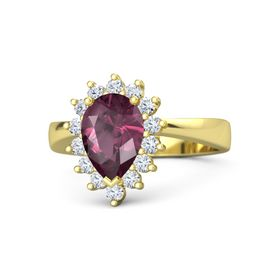 Pear Rhodolite Garnet 14K Yellow Gold Ring with Diamond
